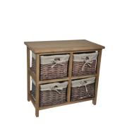 WOOD LOW 4 DRAWERS 52X29X48