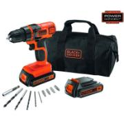 BLACK & DECKER DRILL 18V 2 BATTERIES + 10 ACCS + BAG