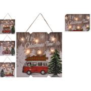 XMAS DECO FRAME WOOD LED 24CM