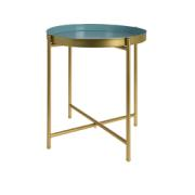 SIDE TABLE ROUND METAL BLUE