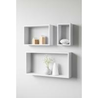 FINORI SHELVY SET OF 3 RECTANGULAR WALL RACKS WHITE 26X16.5X12CM/26X38.5X12CM/30X60X12CM