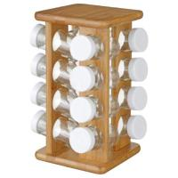 SPICE RACK WITH 16JARS BAMBOO