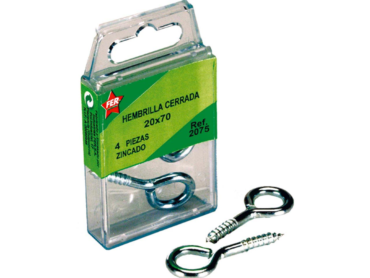FER 6PCS O HOOK ZINC 19x60