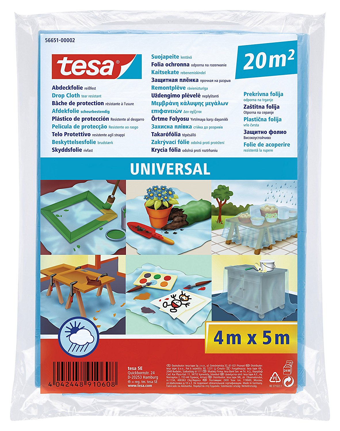 TESA DROP CLOTH UNIVERSAL 4Mx5M 7μm 20۟m²