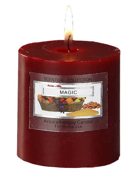 STUDIO HOUSE WIN CANDLE BURGANDY 6.8X7.2CM (MAGIC)