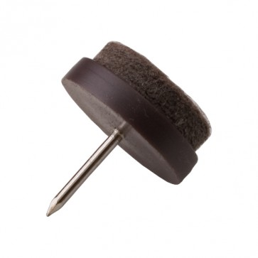 P W 8PCS 24mm FELT GLIDER WITH NAIL BROWN