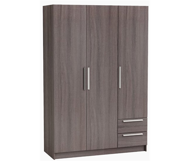 WARDROBE 3 DOORS + 2 DRAWERS GLORY DARK BROWN