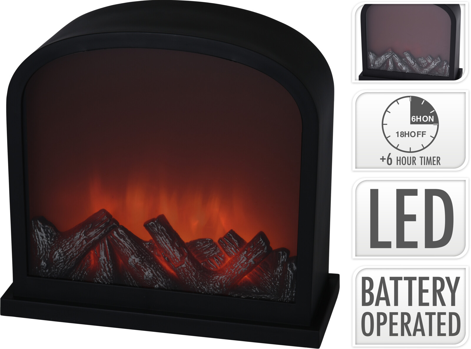 LANTERN FIREPLACE LED 28CM